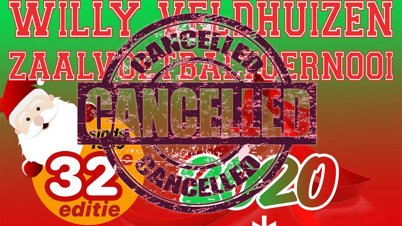 Kerstzaalvoetbaltoernooi 2020 cancelled